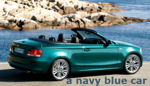 a navy blue car