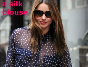 a silk blouse