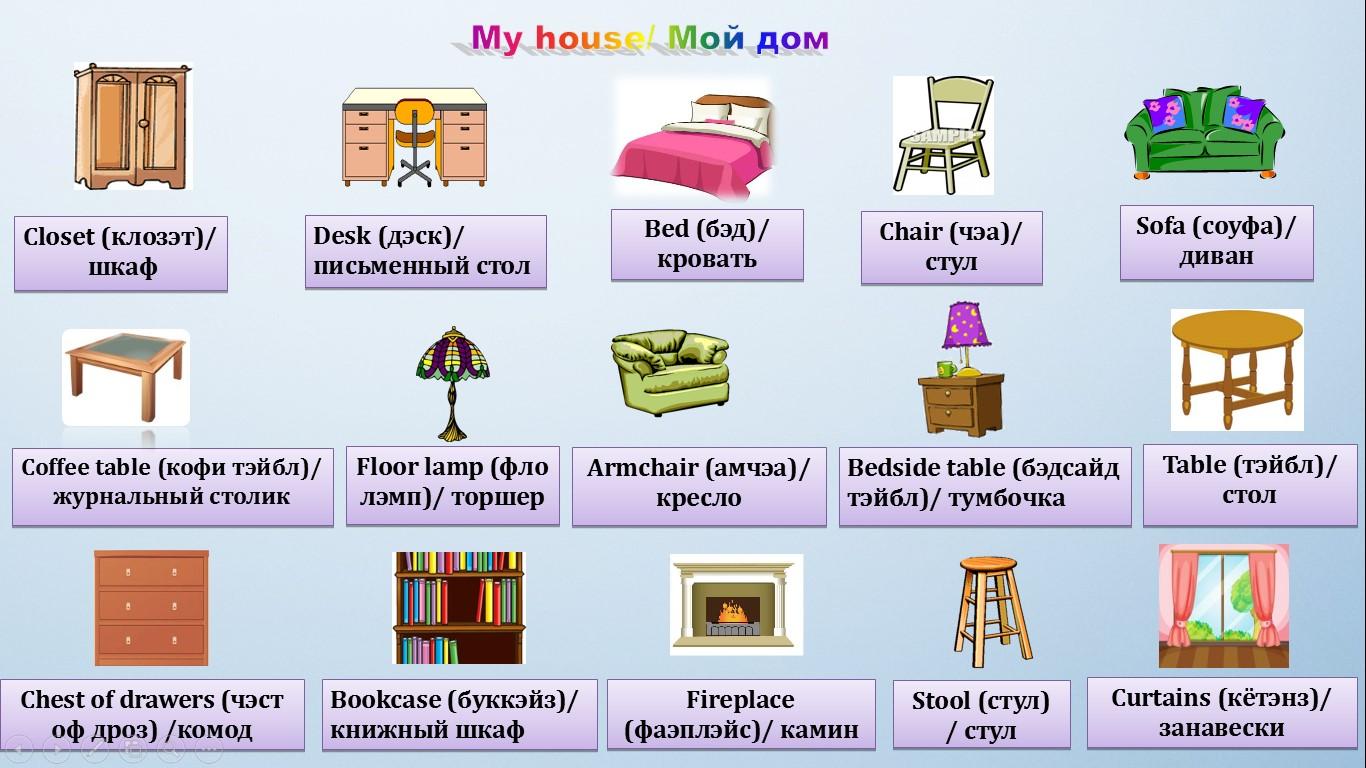 мебель на английском языке