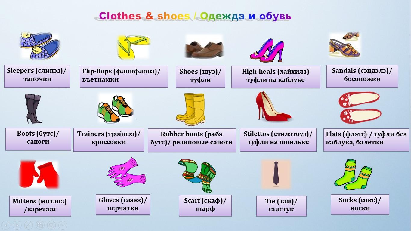 обувь на английском