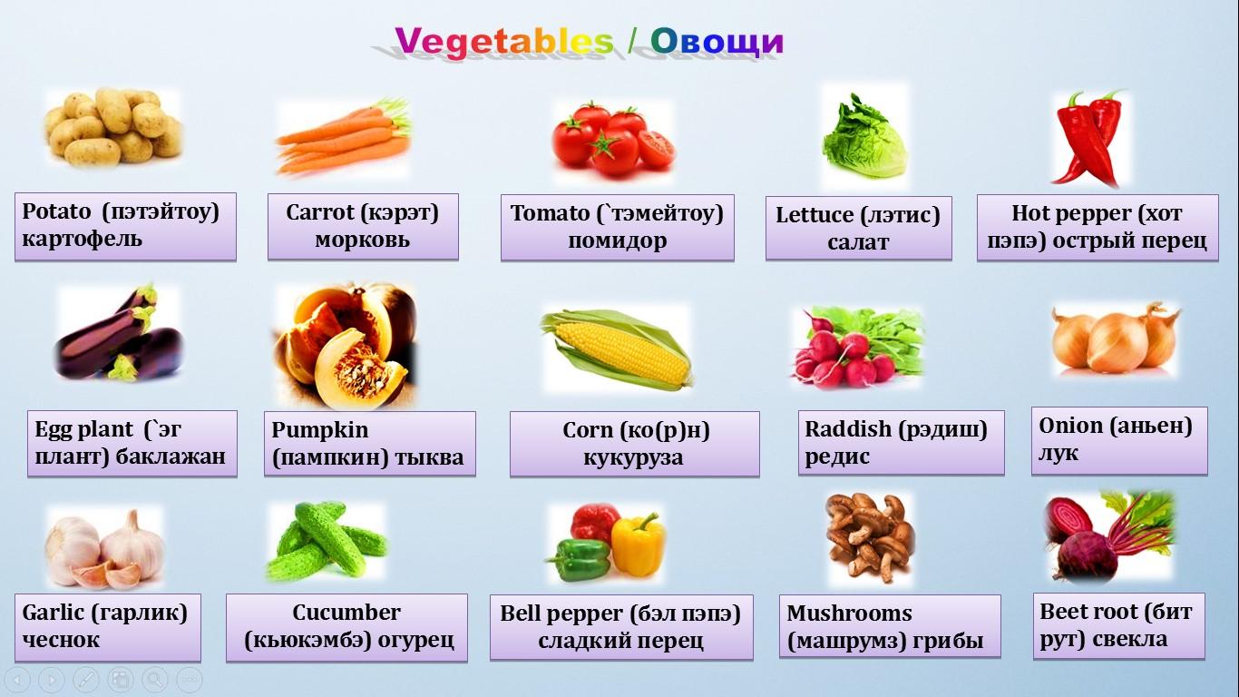 овощи на английском языке